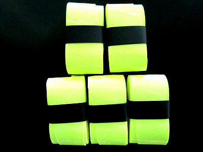 5 Fluro Yellow Replacement Overgrips over grip tennis soft top quality pro grip