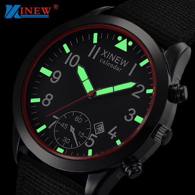 Men's Military Quartz Army Watch Date Luxury Sport Leather Band Wrist Watches