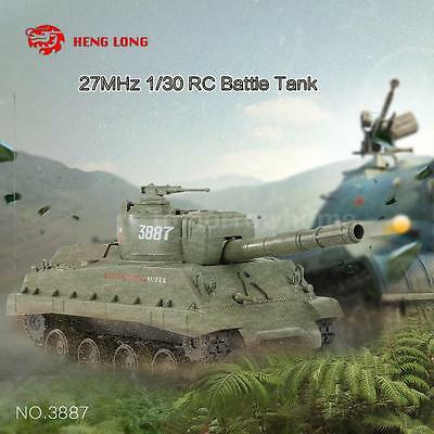 Original HENGLONG NO.3887 27MHz 1/30 Fire Ball Bullet Shooti RC Battle Tank W3R1