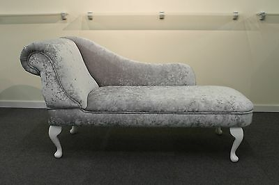Chaise Longue in a Luxurious Silver Crushed Velvet Fabric