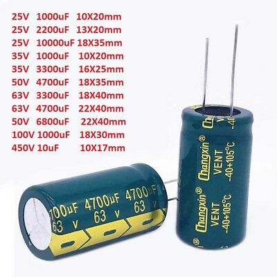 25V-450V High Frequency LOW ESR Radial Electrolytic Capacitor 10uF-4700uF LCD