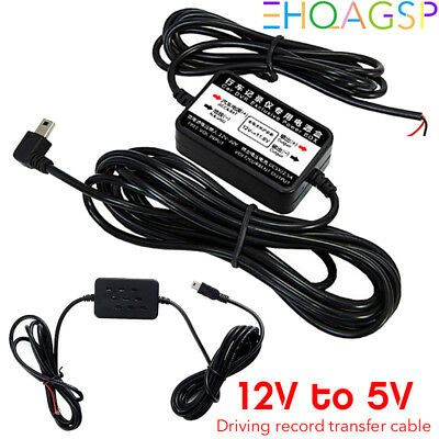 12V to 5V Hard Wire Power Adapter Cable Mini USB Jack For Car DVR Dash Camera