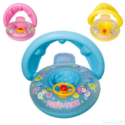 Baby  Inflatable Swim Boat Float Ring Tube Water Seat with Sunshade Canopy  he7