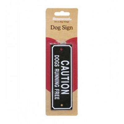 Caution Dogs Running Free Dog Warning Safety Sign With Screws For Attachment