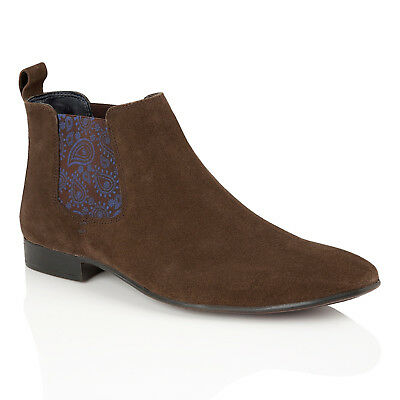 Mens Silver Street Carnaby Brown Suede Ankle Chelsea Boots with Paisley Gusset