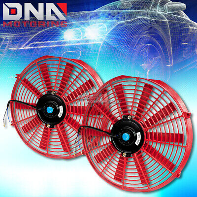 "2X14"" Red Universal Slim Pull/push Electric Radiator Cooling Fans Assembly Kit"