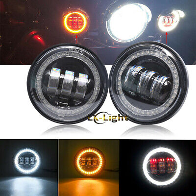 "4.5"" Round LED Passing Fog Lights With DRL Turn Signal Halo for Harley Motor"