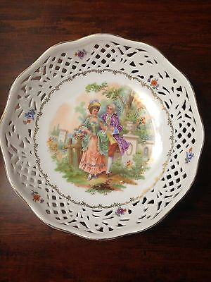 Schumann US Zone Germany 9-1/8'' Pierced Bowl Plate Courting Couple