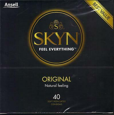 2 x Ansell SKYN ORIGINAL NON-LATEX CONDOMS 40 Pack - Sealed Boxed - FREE P&H Aus