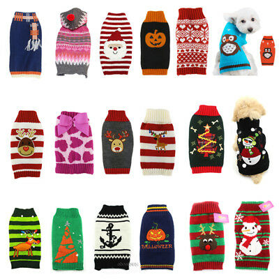 Knitted Puppy Dog Jumper Sweater Pet Clothes For Small Dogs Coat Various Styles