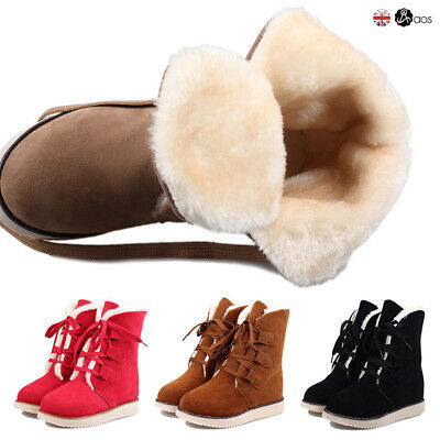 Ladies Lace Up Snow Ankle Boots Womens Winter Warm Fur Lined Flat Shoes Size UK