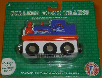 New College Team Trains BSU Wood Wooden Railway Toy Boise State Buster Bronco