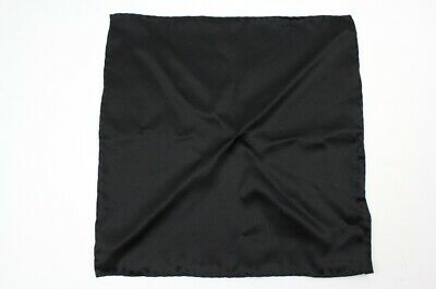 Dapper BRIONI Solid Black 100% Silk POCKET SQUARE Made Italy Hand Rolled Edge