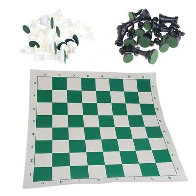 Tournament Chess Set New Game Gifts - Plastic Pieces and Green Roll 43x43cm New
