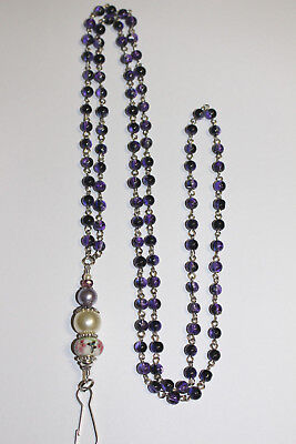 Purple Drawbench with Pink Flowers & Butterfly Murano Lampwork Beaded Lanyard