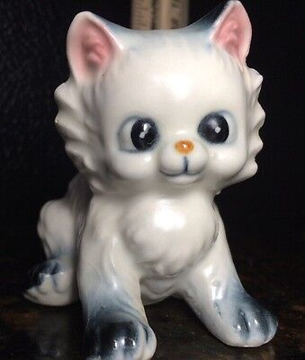 Ceramic White Kitty Cat Figure With Black Ears And Paws. Kitten Collector Lover