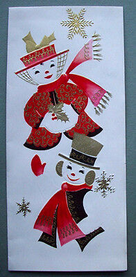 Mrs & Mr Snowman  CHRISTMAS VINTAGE GREETING CARD *M