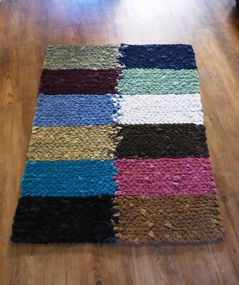 """NEW Upcycled Reversible Hand Woven Artisan Rug, multi-colored, 39"""" x 31"""""""