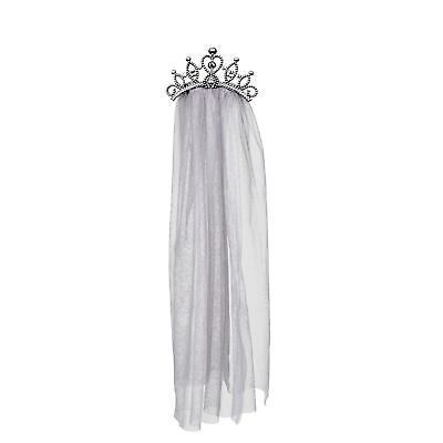 Ladies Gothic Zombie Bride Queen Princess Wedding Veil Halloween Accessory Tiara
