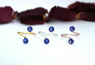 AdjustableToe Rings-Choose Your Finish-With Sapphire Swarovski Crystal Elements
