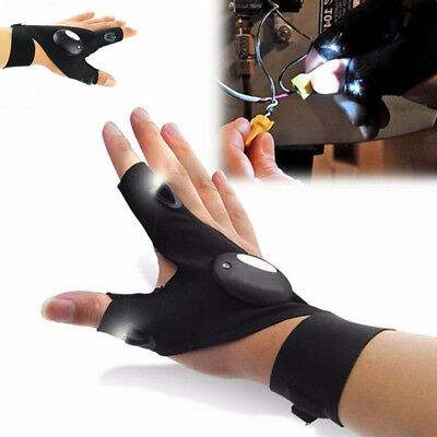 Finger Glove with LED Light Flashlight Tools Outdoor Gear Rescue Night Fishing B