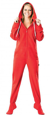 XL Candy Apple Solid Red Unisex Polar Fleece Adult Sized Footed Hoodie Pajamas