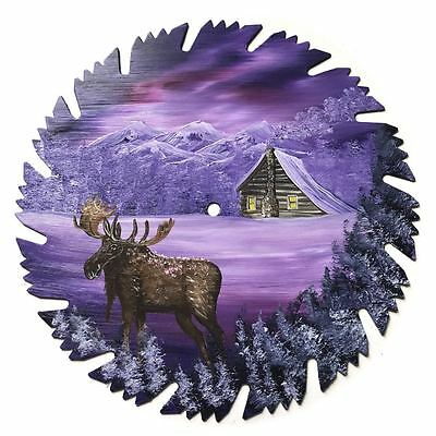 Hand Painted Saw Blade Art Mountain Mauve Lavender Winter Log Cabin and Moose