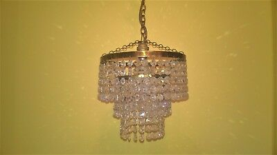 Vintage brass and crystal glass chandelier