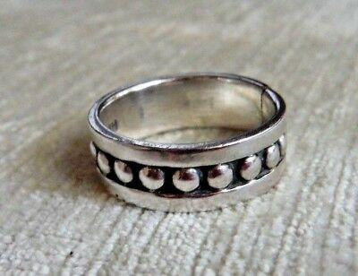 Taxco Mexico Mexican Sterling Silver Band Ring W. Ball Accents--Signed Te-45