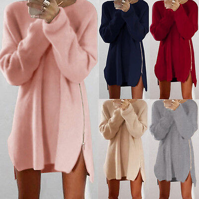 UK Womens Long Sleeve Jumper Blouse Knitted Sweater Loose Tunic Top Mini Dresses