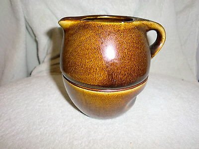 Russel Wright Oneida China Brown Stackable Creamer & Sugar Bowl