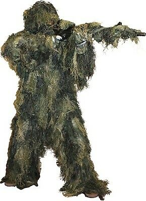 Ghillie Suit Woodland Camo Paintball 5 Piece Fire Retardant M/L use as Costume