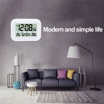 LCD Display Digital Electronic Living Room Calendar Wall Table Clock Thermometer
