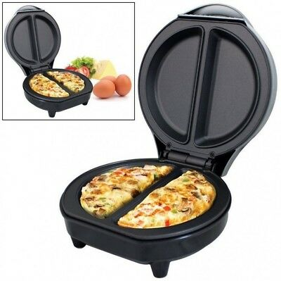 Electric Omelette Maker Egg Kitchen Non-Stick Plates Frying Pan Breakfast Silver