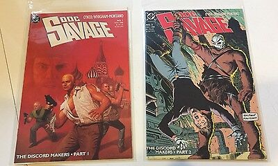 lot of 2 Doc Savage (1988 series) #1 and #2 in VF+/NM Denny O'Neil DC Comics