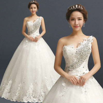 New white Ivory Lace Ball Gown Wedding Dresses Custom Size 4 6 8 10 12 14 16 18+