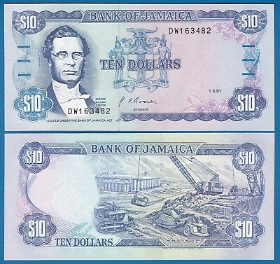 Jamaica 10 Dollars P 71 d 1991 UNC Sign 10 Low Shipping! Combine FREE! (P-71d)
