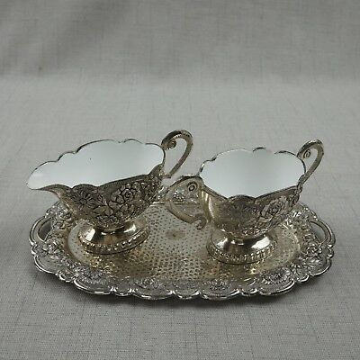 Eales 1779 Sugar Bowl and Creamer with Tray Silver Plated Porcelain Set No. 928