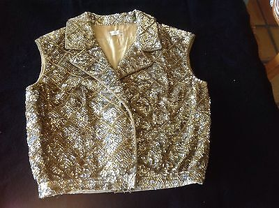 Vtg. 60s Gold Colored Sequin/Beaded Vest Sweater Lined