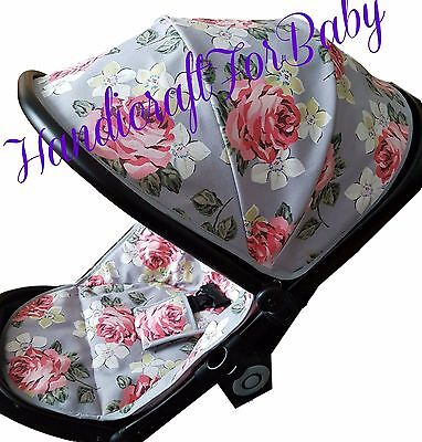 Handmade Zip Liner, hood cover, pads for Icandy Peach 1,2 or 3 Pram Pushchair