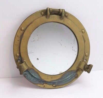 Vintage Brass Nautical Porthole with Mirror Decorative Heavy Solid Cast Patina