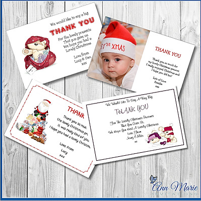 10 Personalised Christmas Xmas Thank You For My Gifts Card With Envelopes