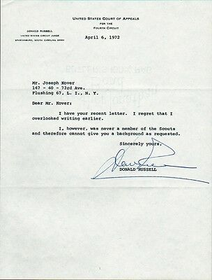 Nixon Administration DONALD RUSSELL Signed Letter