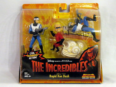 THE INCREDIBLES DASH Figure & 2 Syndrome Guards figures RARE New! Rapid Run Dash
