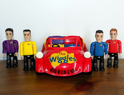 Wiggles BIG RED CAR & 4 WIGGLES FIGURES with Greg Anthony Murray & Jeff! figures