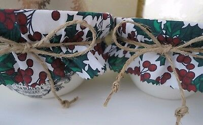 2 Homemade Christmas pudding decorative holly bowl covers, bands & jute ties.
