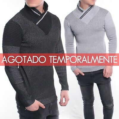Jersey hombre chico punto rayas relieve color contraste slim ajustado SectionDNM