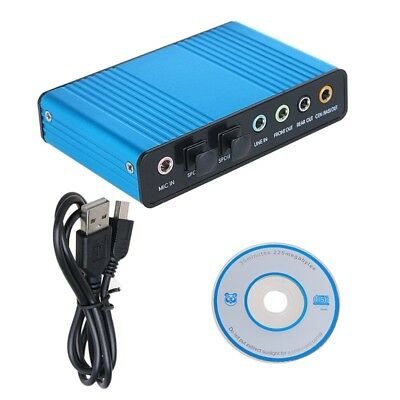 Blau Externe USB 6 Kanal 5.1 Optical Audio Soundkarte Adapter S/PDIF PC Laptop