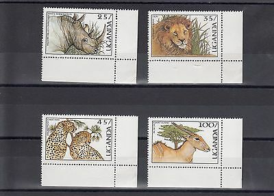 Timbre Stamp 4  Ouganda  Y&t#441-44 Faune Lion  Neuf **/mnh-Mint 1987 ~A16