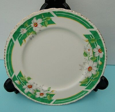 Grindley of England White with Green Band Clematis Pattern Dish